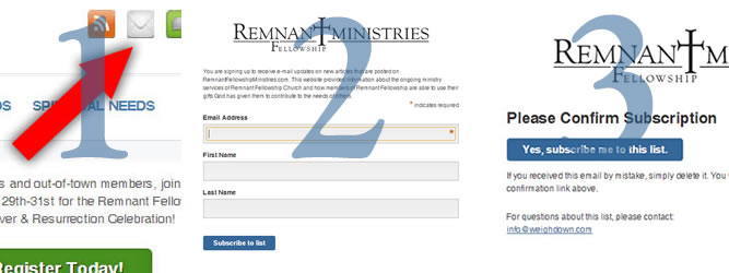 Three Easy Steps – Subscribing to the Remnant Fellowship Ministries E-mail List