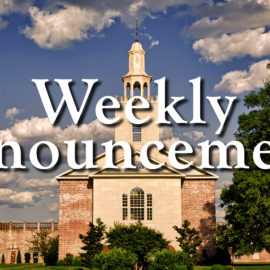 Weekly Church Announcements: The 2nd Week of November